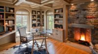 Fireplace-surround-in-Adirondack-stone-turns-it-into-the-focal-point-of-this-lovely-home-office